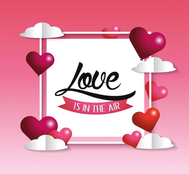 Vierkant stickerembleem met harten aan valentijnskaartdag