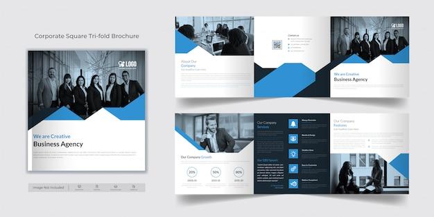 Vierkant tri-fold brochure sjabloon
