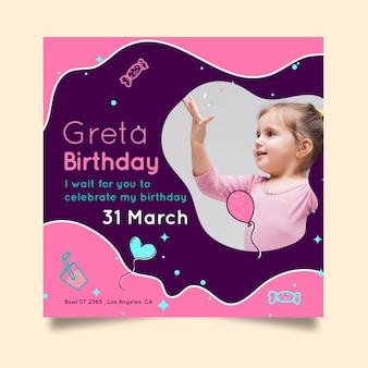 Vierkant verjaardag flyer voor kinderen