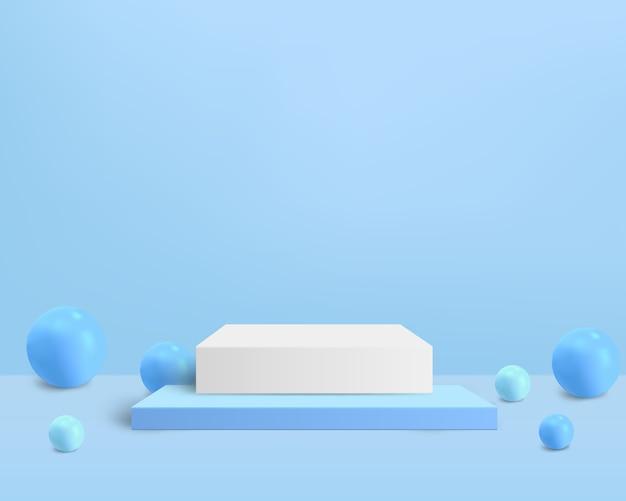 Vierkant voetstuk met bal op de blauwe achtergrond voor product