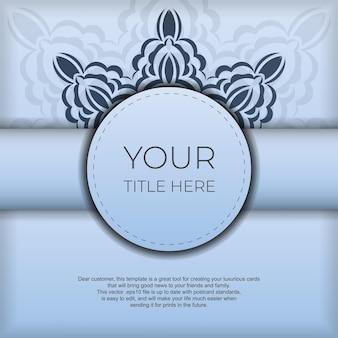 Vierkant voorbereiden van blauwe ansichtkaarten met luxe zwarte patronen. sjabloon voor print ontwerp uitnodigingskaart met vintage ornament.