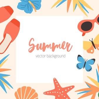 Vierkant zomer achtergrond sjabloon met rand