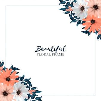 Vierkante achtergrond met bloemenrand