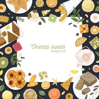 Vierkante achtergrond sjabloon met frame gemaakt van oosterse snoepjes liggend op platen. traditionele dessertmaaltijden, lekker gebak, heerlijk gebak. elegante hand getekend realistische vectorillustratie.