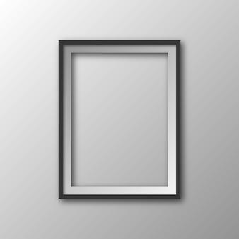 Vierkante afbeeldingsframe met schaduw. 3d-fotolijst geïsoleerd.