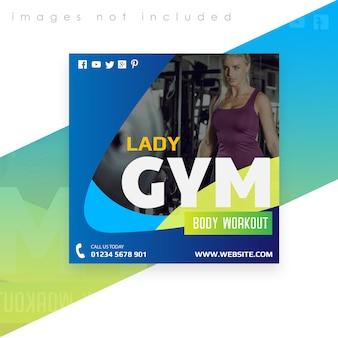 Vierkante banner of flyer-sjabloon. gym lichaam training