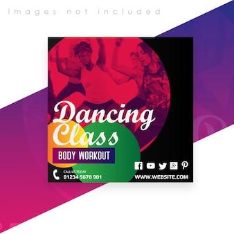 Vierkante banner of flyer-sjabloon. workout met dansles