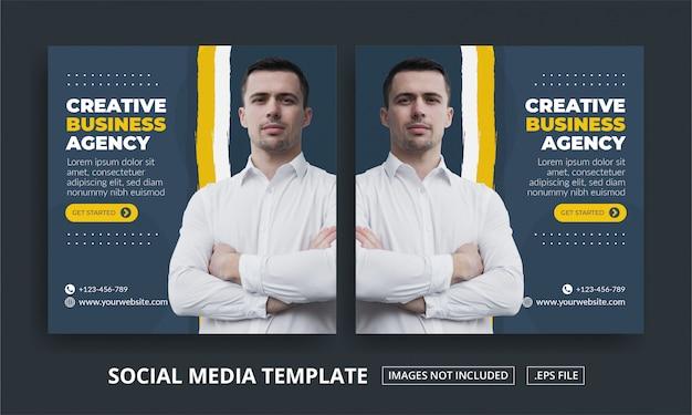 Vierkante banner voor social media post-sjabloon business agency