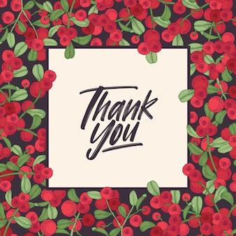 Vierkante bedankkaartsjabloon met frame versierd met rode bosbessen