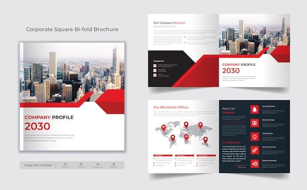Vierkante bi-fold brochure sjabloon
