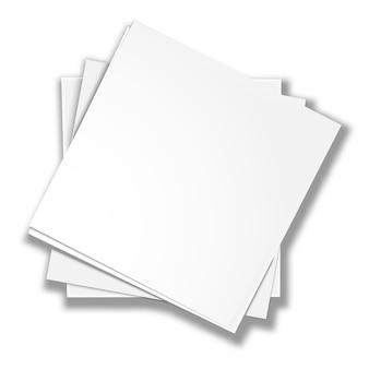 Vierkante blanco witte vellen. uitzicht van boven. niet echt liegen. briefpapier voor op kantoor.