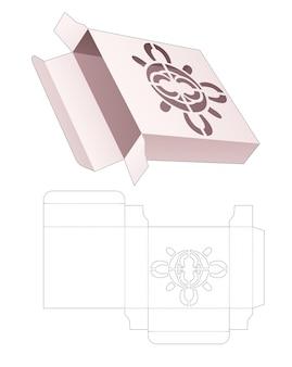 Vierkante blikken doos met gestencilde mandala gestanste sjabloon