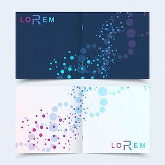 Vierkante brochure folder cover presentatie wetenschappelijke achtergrond.