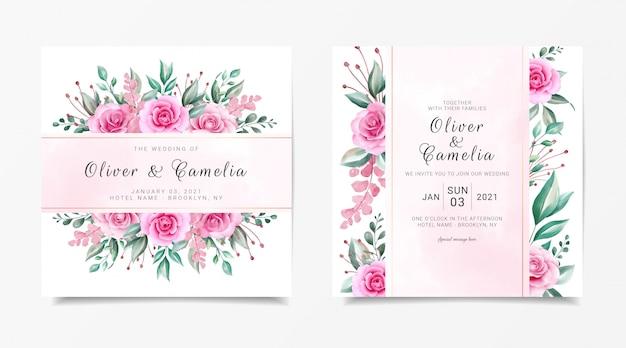 Vierkante bruiloft uitnodiging kaartsjabloon ingesteld met aquarel bloemen decoratie en gouden lijn decoratie