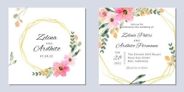 Vierkante bruiloft uitnodiging sjabloon met aquarel bloemen frame goud