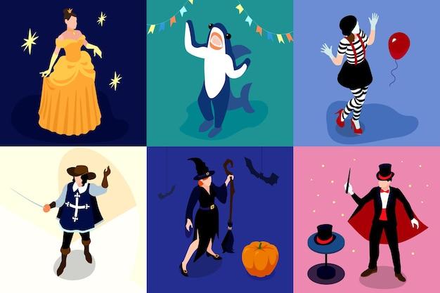 Vierkante composities van mensen in funky kostuums met accessoires