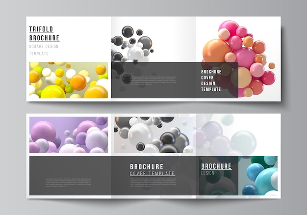 Vierkante covers sjablonen voor driebladige brochure flyer tijdschrift ontwerp futuristische achtergrond