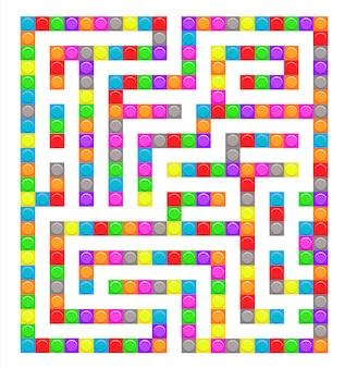 Vierkante doolhofbakstenen speelgoedlabyrintspel voor kinderen. labyrint logica raadsel.