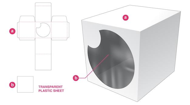 Vierkante doos en cirkelvenster met gestanste sjabloon van transparant plastic vel