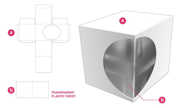 Vierkante doos en ellipsvenster met gestanste sjabloon van transparant plastic vel