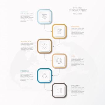 Vierkante doos infographic voor bedrijven