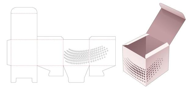 Vierkante doos met gesjabloneerde halftoonstippen gestanst sjabloon