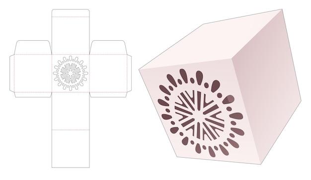 Vierkante doos met gestanste mandala-sjabloon