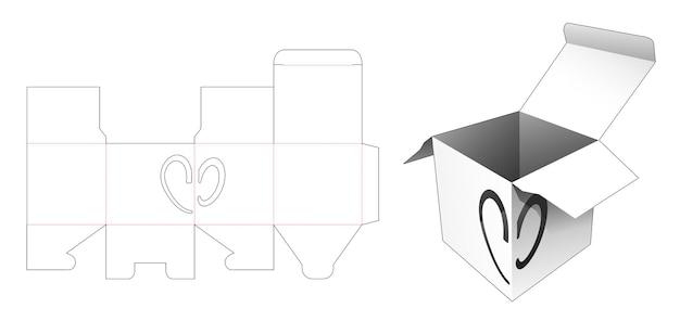Vierkante doos met hartvenster op gestanste hoeksjabloon