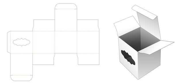 Vierkante doos met vintage raam gestanst sjabloon