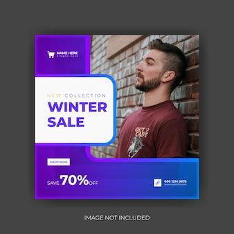Vierkante flyer met winteruitverkoop instagram postsjabloon premium vector