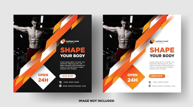 Vierkante flyer of instagram postsjabloon. gym promotie Premium Vector