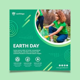 Vierkante flyer-sjabloon voor de viering van de dag van de moeder aarde
