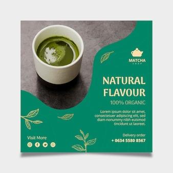 Vierkante flyer-sjabloon voor matcha-thee