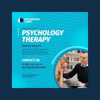 Vierkante flyer-sjabloon voor psychologietherapie