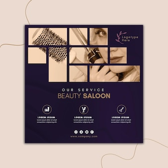 Vierkante flyer-sjabloon voor schoonheidssalon