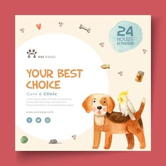 Vierkante flyer-sjabloon voor veterinaire kliniek