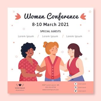 Vierkante flyer-sjabloon voor vrouwenconferentie