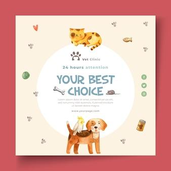 Vierkante flyer voor dierenkliniek