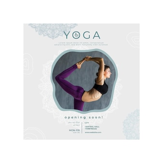 Vierkante flyer voor het beoefenen van yoga