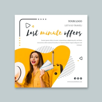Vierkante flyer voor last-minute reizen