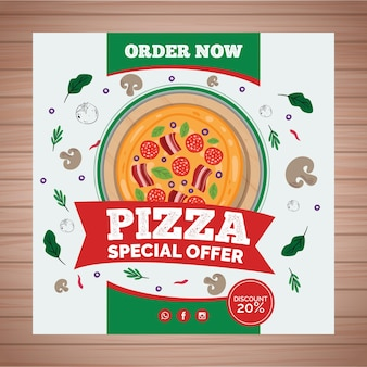 Vierkante flyer voor pizzarestaurant