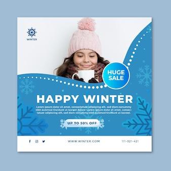 Vierkante flyer voor winterverkoop