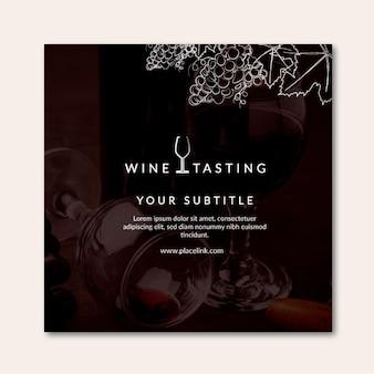 Vierkante flyer wijnproeverij sjabloon