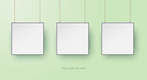 Vierkante fotolijsten mock-up sjabloon op groen.