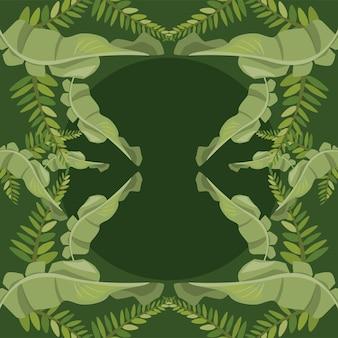 Vierkante frame tropische bladeren
