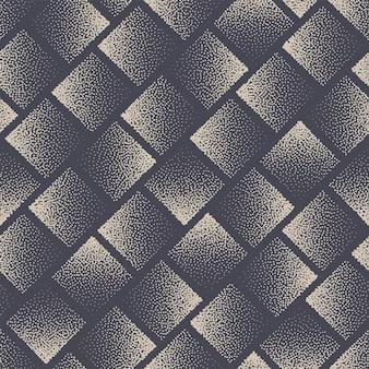 Vierkante gestippelde naadloze patroon geometrische vector abstracte achtergrond hand getrokken tegelbaar esthetische gestippelde textuur