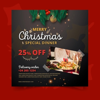 Vierkante kerst flyer-sjabloon met speciale aanbieding