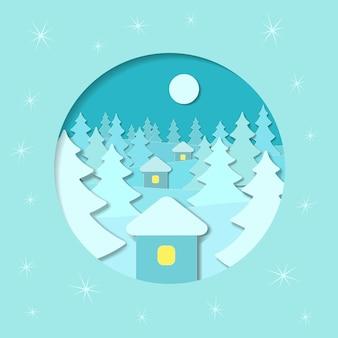 Vierkante kerst vector winter achtergrond met huizen, bomen, maan, bos, sneeuw in de stijl van papier art