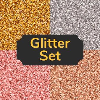 Vierkante kleur glitter textuur, naadloze patroon of achtergrond instellen. goud, zilver, roze, brons.