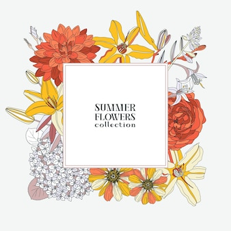 Vierkante krans met zomerbloemen - dahlia, hortensia, lelie, roos, zinnia. bloemen frame